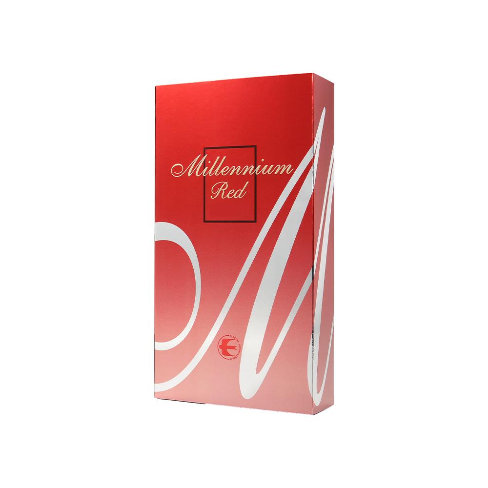 「千禧泉-紅色」 - 「千禧泉–紅色」是專為那些低糖飲食需求者或對蜜蜂製品過敏者而設計,它同樣以仙人掌為原料,但不含蜂蜜或蜂王漿。