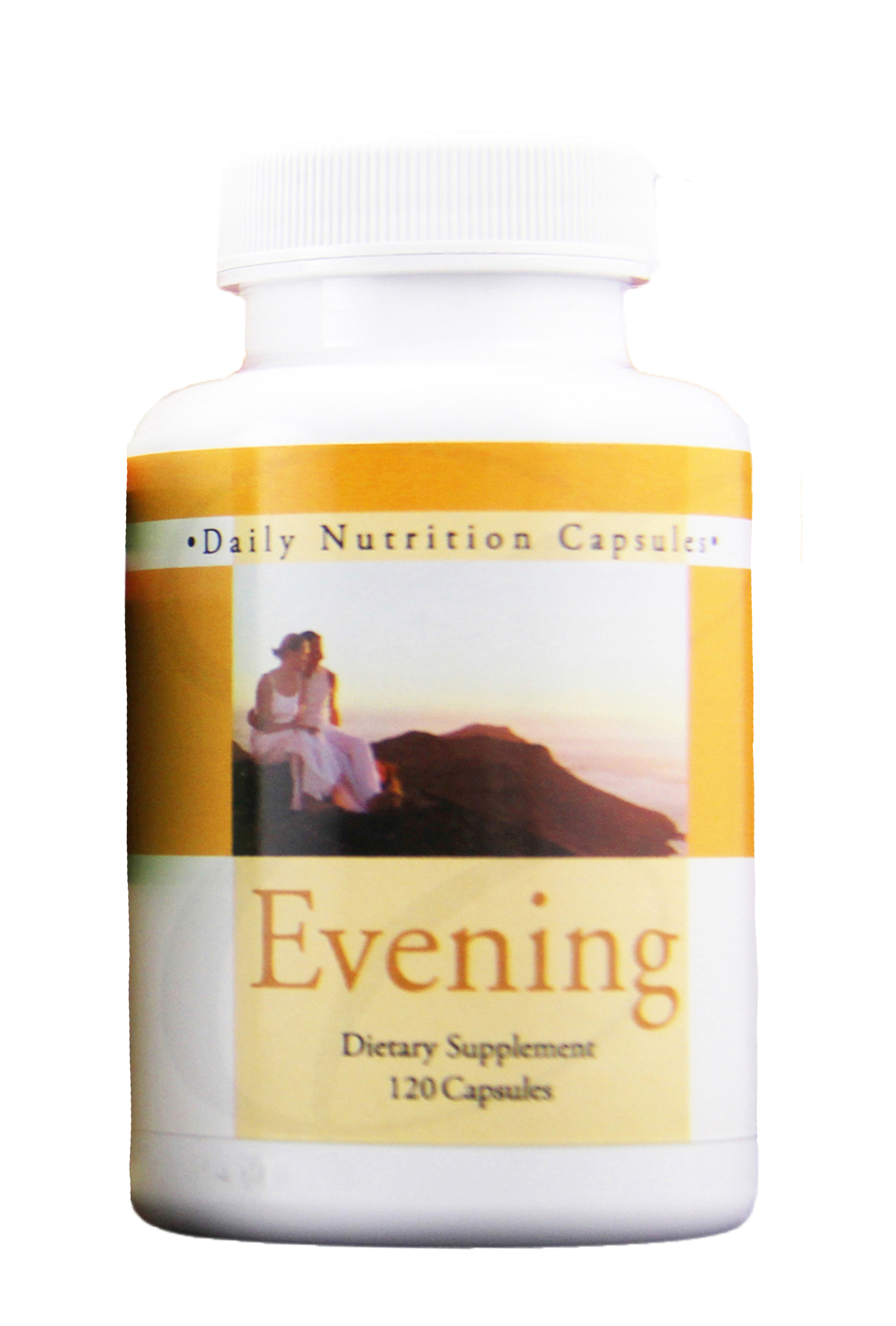 daily nutrition evening - CONTAINS OVER 20 TYPES OF PRECIOUS BOTANICALS TO HELP CREATE A BASIC FOUNDATION FOR DAILY OVERALL WELLNESS* DAILY BOTANICAL FORMULABee Pollen, Dong Quai, Perilla, Luffa, Ginger, Jing Jie, Panax Ginseng, Cassia Tora Seed, Chinese Dodder, Tangerine Peel, Peach Seed, Reishi, Chinese Lovage Root, Siler Root, Knotweed, Pearl, Privet Fruit, Chrysanthemum, Chinese Red Date, Chinese Hawthorn, Licorice Root, Safflower4 bottles / 2 bottles of each   480 capsules   Code: 2106