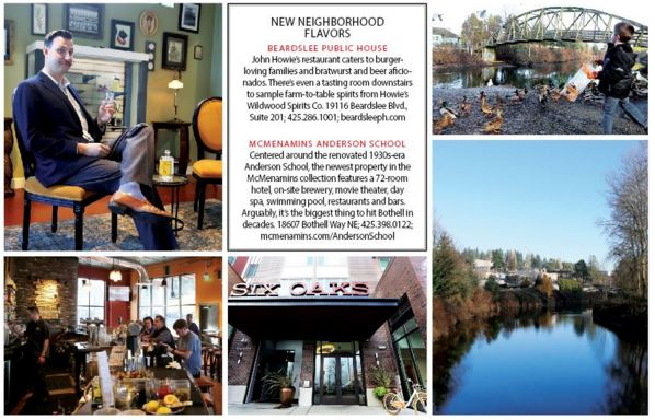Clockwise from top left: Wildwood Spirits Tasting Room, Bothell Landing Park, the Sammamish River, Six Oaks apartments, Beardslee Public House