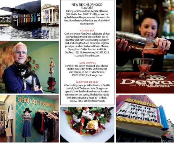 Clockwise from top left: Puget Sound Naval Shipyard; shaking things up at Toro Lounge; historic Admiral Theatre; the roasted beet salad at Honor Bar; Purpose Boutique, artist Curtis Steiner at his Manette gallery, named after his dog Mortimer