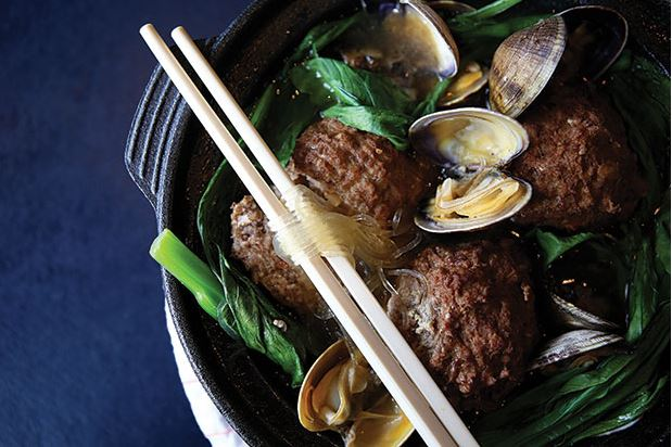 Pork meatballs with clams, yu choy and bean thread noodles, from Lionhead on Capitol Hill
