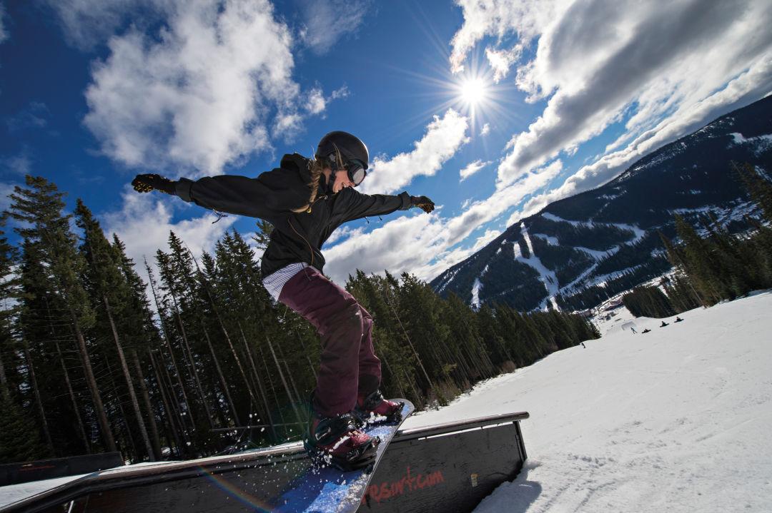 A boarder rides the Sun Peaks park.  IMAGE:  COURTESY ADAM STEIN / SUN PEAKS SKI RESORT