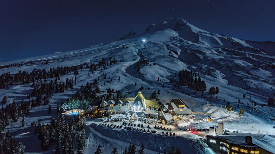 Timberline Ski Area lights up Mount Hood.  IMAGE:  COURTESY TIMBERLINE LODGE