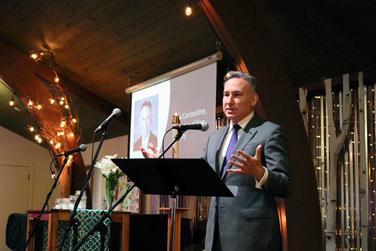 King County Executive Dow Constantine gives his remarks at the groundbreaking celebration for the Eastside's first permanent women and family shelter. The shelter is funded by community support, King County, Kirkland and Washington state. Kailan Manandic/staff photo