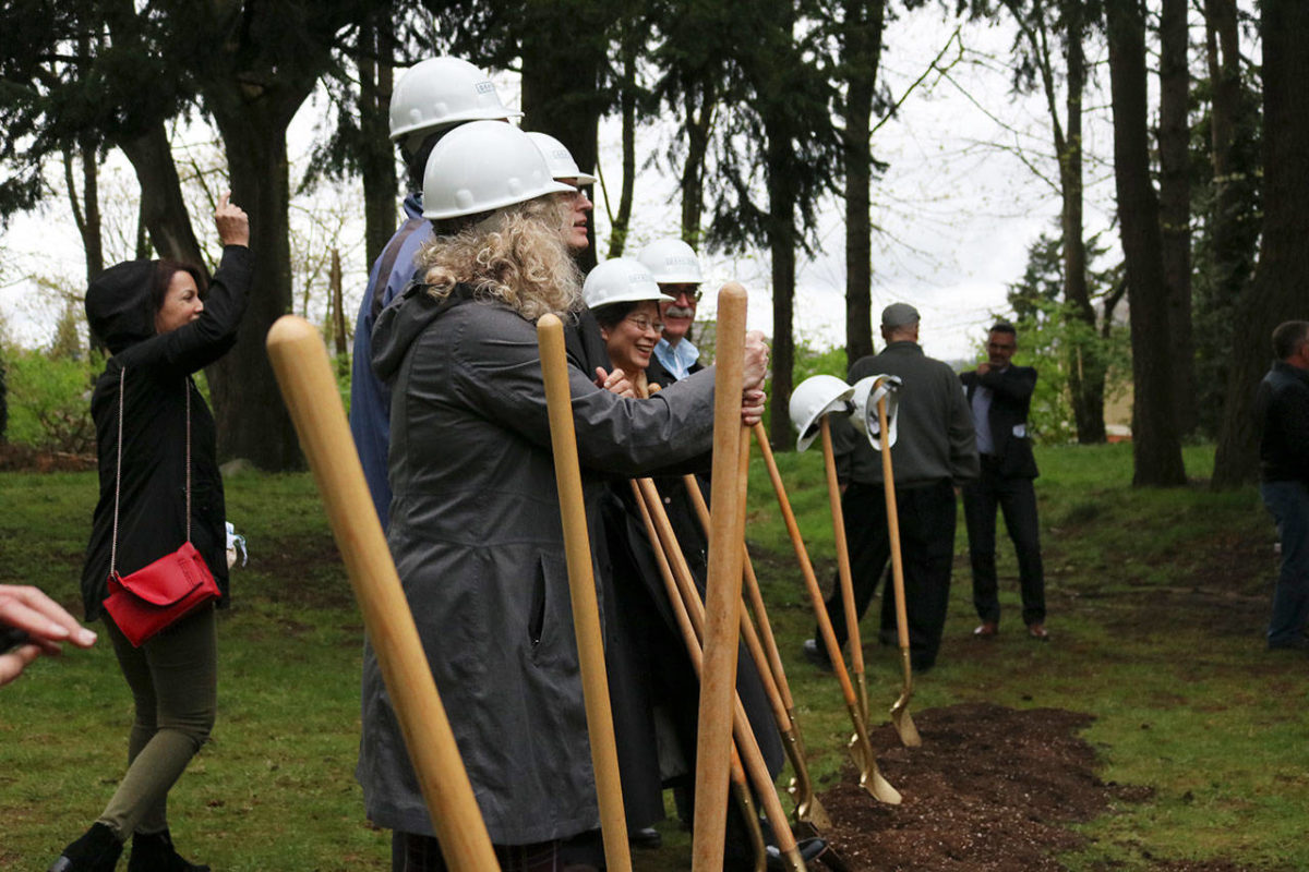 Officials break ground outside Salt House Church for the Eastside's first permanent women and family shelter. Workers hope to complete construction in 2020. Kailan Manandic/staff photo