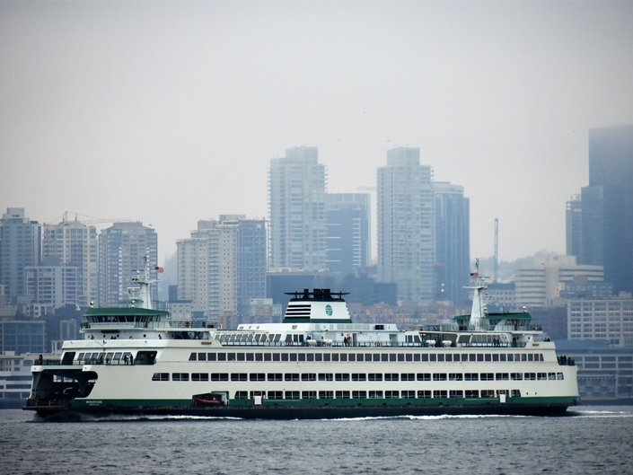 One of the state's iconic ferries heads west from Seattle in January, 2019. (Patch file photo/Neal McNamara)