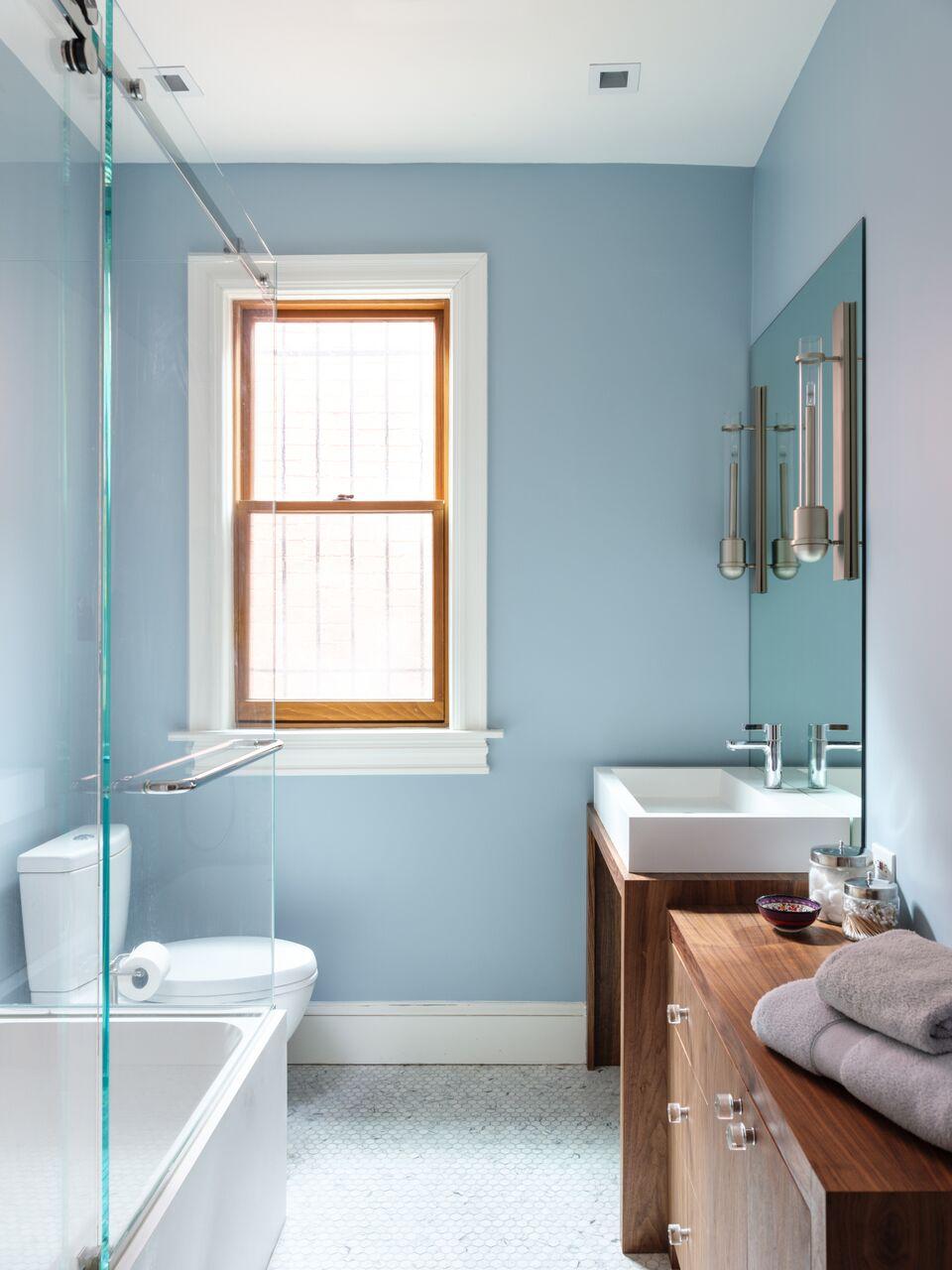 Master Bath, Washington, DC Porcelanosa, Bel Pre Glass, Urban Electric Co., Badeloft Solid Surface Sink, Architectural Ceramics, Artistic Tile, Virginia Mountain Woodworks.