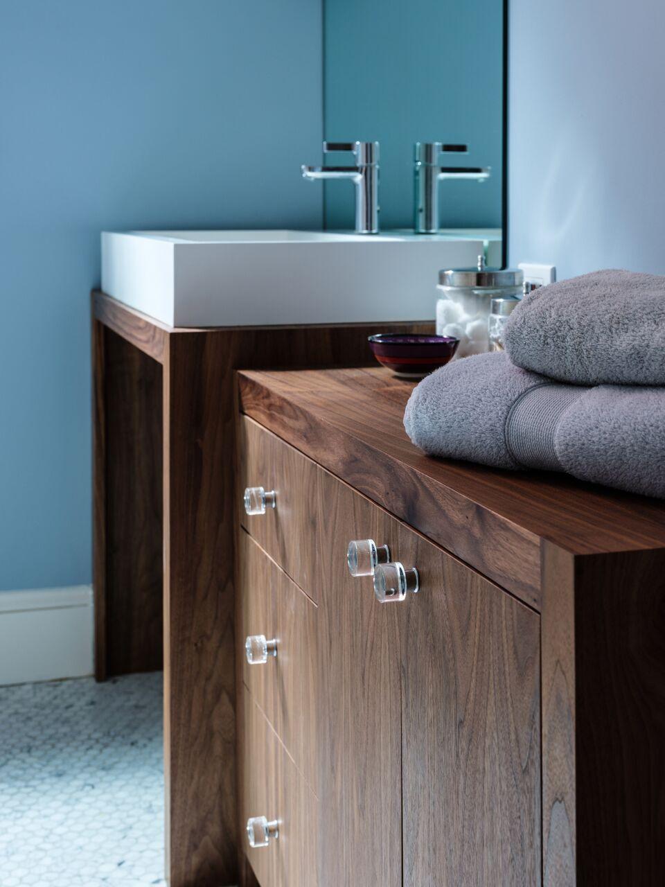 Master Bath, Washington, DC, Virginia Mountain Woodworks, Badeloft Sink, Hansgrohe Faucet, Bel Pre Glass