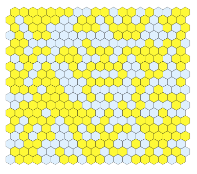 In this example, the lattice is composed of hexagons that are either solid (yellow) or porous (white).
