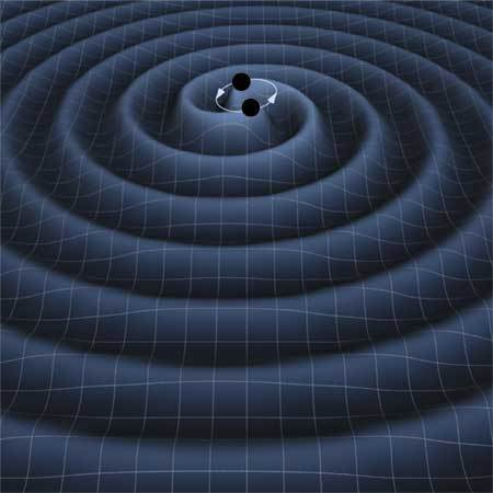 Illustration of gravitational waves emitted by two black holes as they circle each other. Thorne pioneered theories about gravitation in astrophysics.