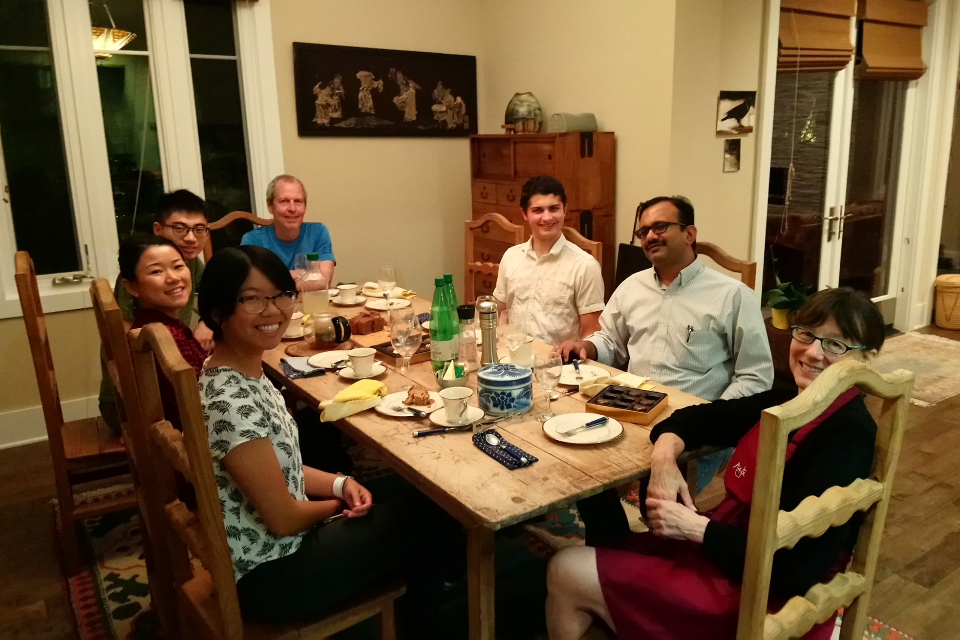 Our first Dinner with Techers in October, 2017: Marie Csete (PhD '00) hosts students for dinner at her home.
