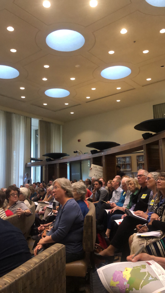 Studies state that attendees of local government planning meetings tend to be older and whiter than the average in their communities. The Stanford hearing in Palo Alto was no exception