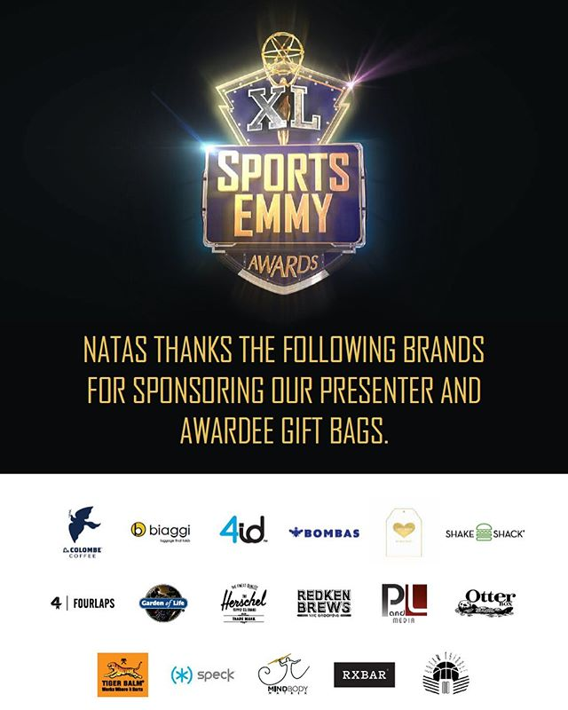 Good luck to all of the nominees at the #sportsemmys tonight!!! and a special  thanks to all of the brands who so generously donated products for the VIP backstage gift bags 🙏🏻⚽️🏀🏈⚾️🎾#giftbagsbyrachael