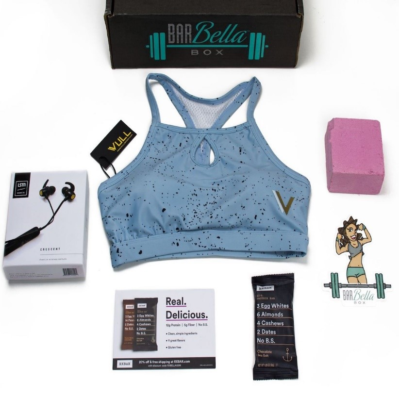 Subscription to  BarBella Box  - a monthly package filled with premium Functional Fitness apparel, gear, accessories, snacks, supplements, workout tips, and more exclusively for women. BarBella Box was created out of necessity.  The BarBella Box team is currently scouring the Earth to find the best products for you. Since this box is made especially for women, the products are handpicked for what women want! You won't find anything else like that in this market.  https://www.barbellabox.com/