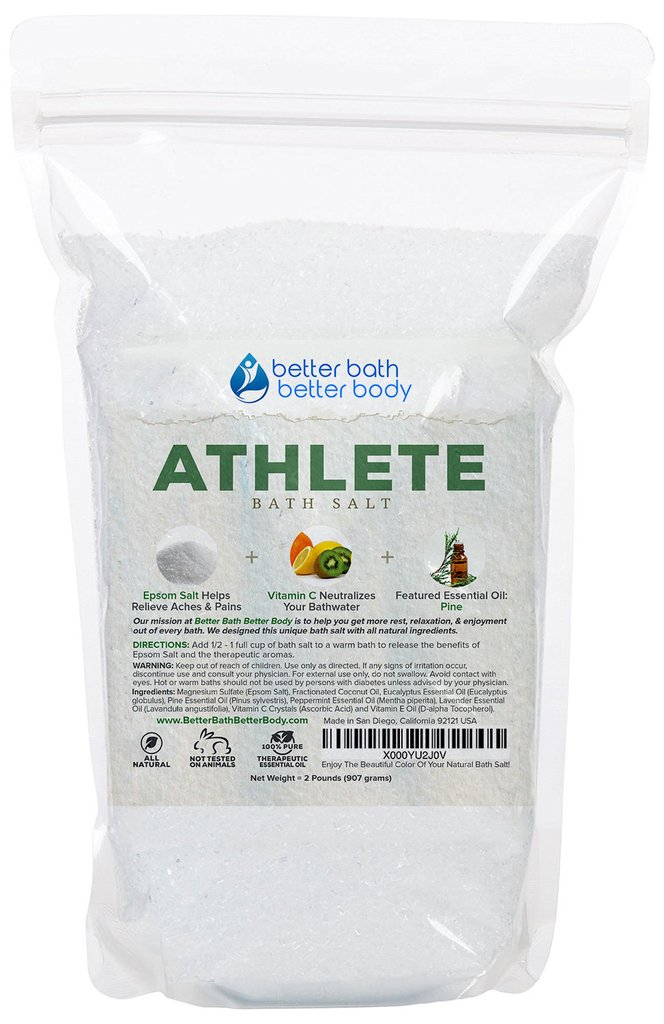 Athlete Bath Salt - Epsom Salt Bath Soak With Pine & Eucalyptus Essential Oil Plus Vitamin C - All Natural No Perfumes No Dyes - Post Workout Soak For Tired Sore Muscles