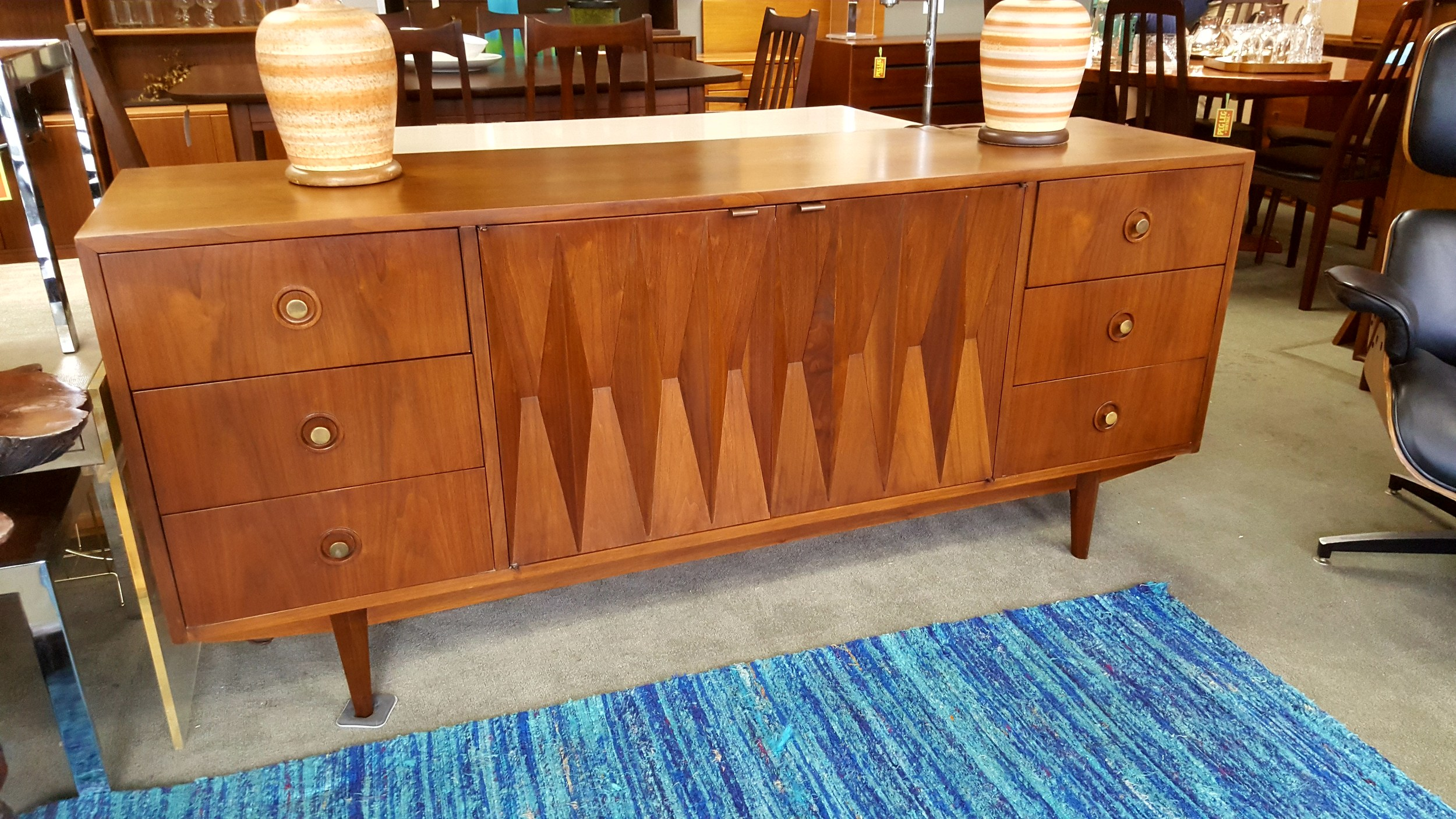 Mid-Century Modern 9-drawer dresser with diamond accents by ...