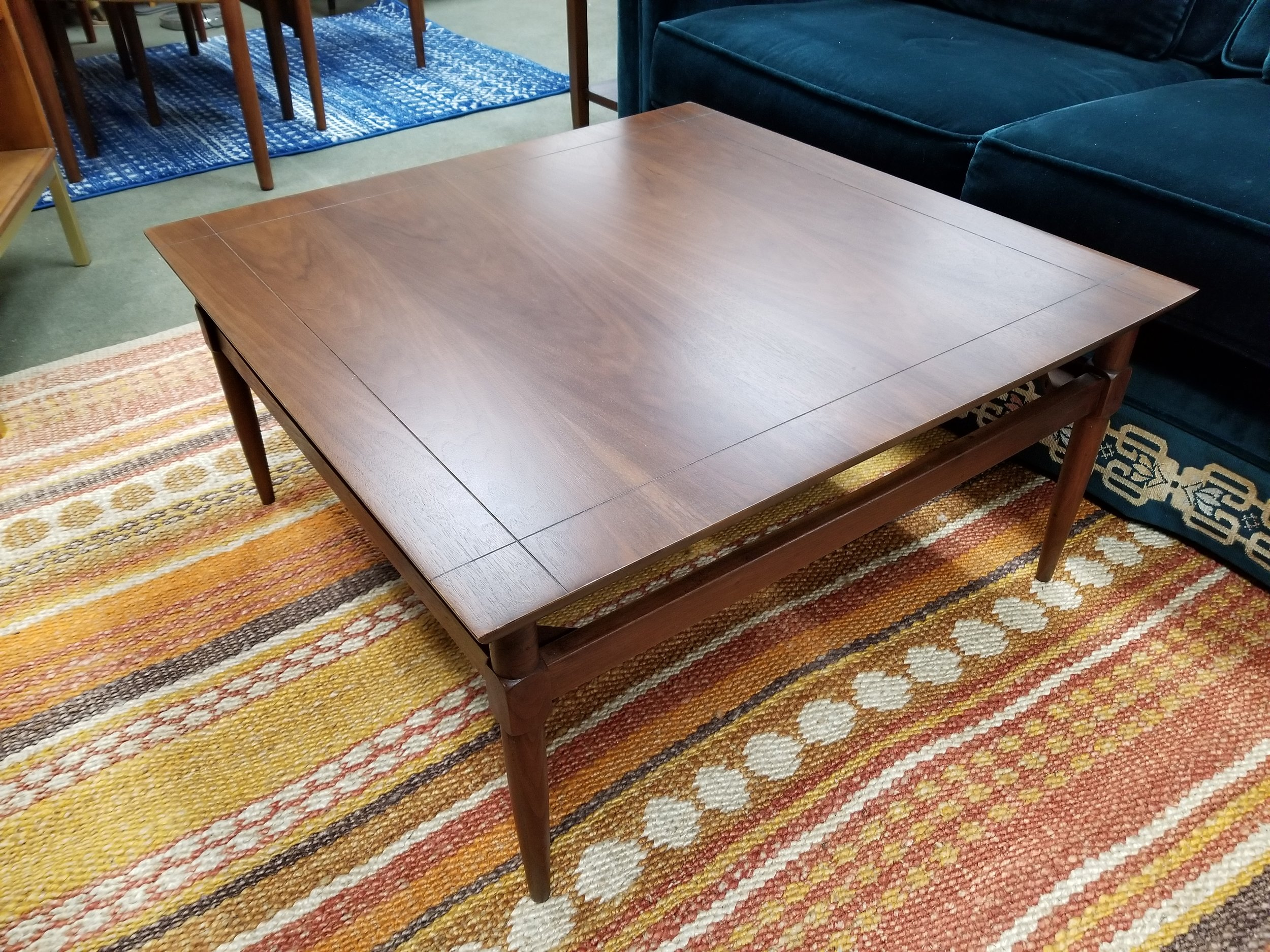 Mid Century Modern Walnut Square Coffee Table By Founders Peg