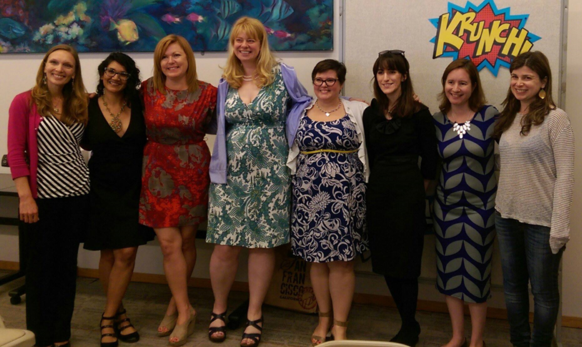 Left to right: Juliette Sobanet, Cindy Arora, Liz Fenton, Anna Garner, Lucie Simone, Nancy Scrofano (me), Lisa Doyle, Laura Dave