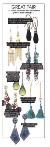 Walker & Hall Eiffel Earrings VIVA 12 June 2013
