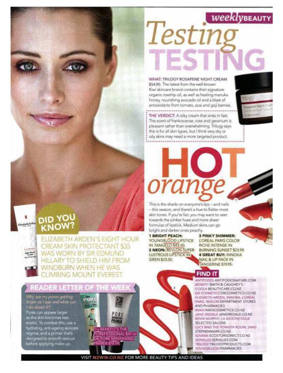 Youngblood Lipstick Tangelo NZWW June 2013