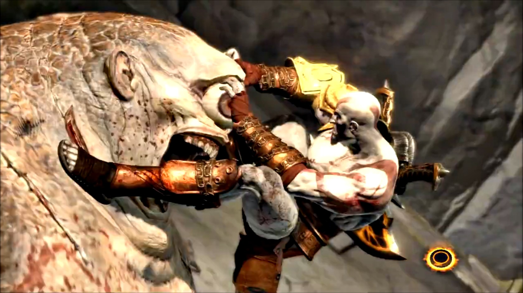 """Another """"rideable"""" creature in GOWIII , the Cyclops was another returning character where we wanted Kratos to use him as a weapon (""""Weaponizing"""" we called it). It took a few iterations to get Kratos looking strong and in control as well as the Cyclops not looking like a vehicle. The key was to sell the """"pain"""" in the Cyclops reaction when Kratos stabs him and make the reaction feel natural but also propel the player forward."""