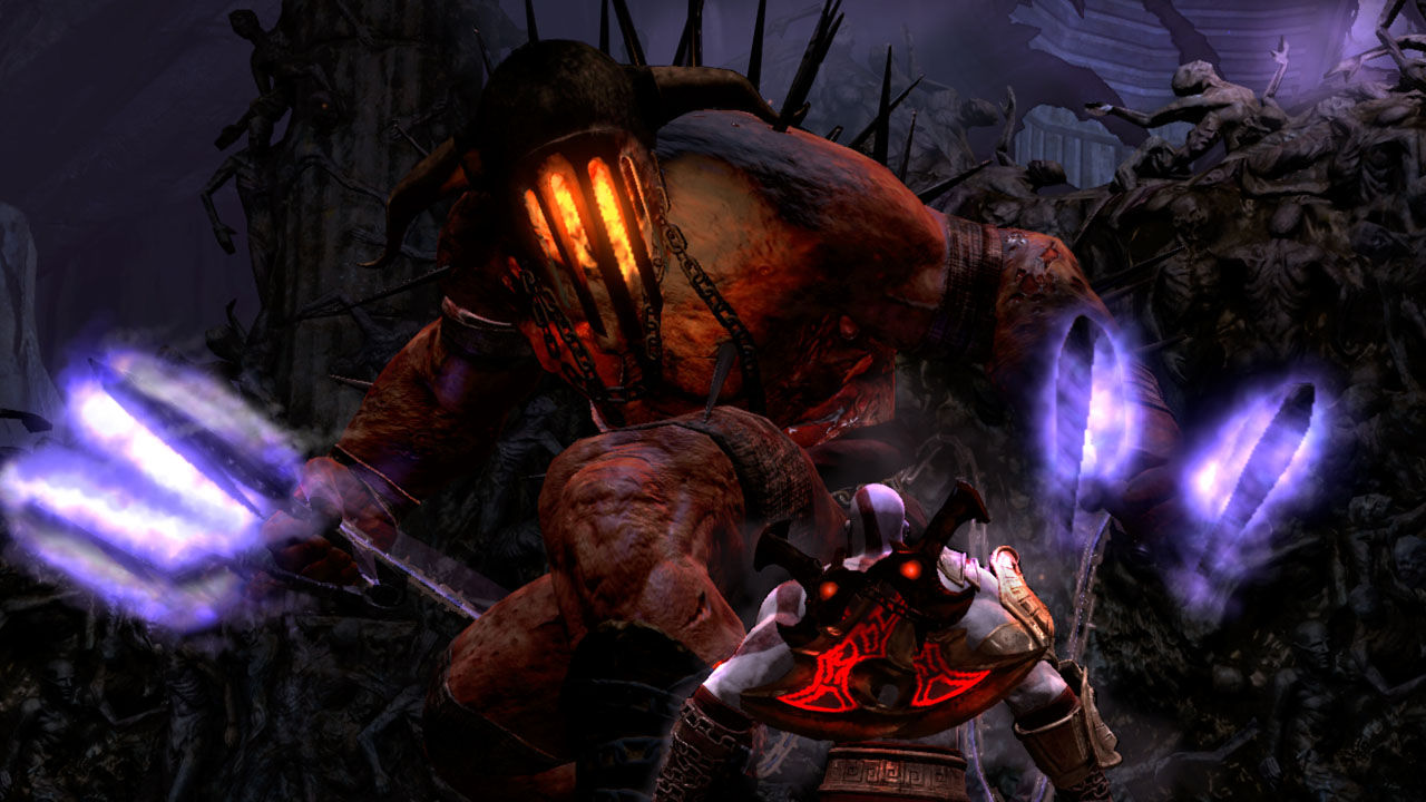 """The Hades Boss fight was an epic moment in  GOWIII . It was the first time Kratos has fought someone with pretty much the same weapon as him...but only much more gnarly. A lot of the original design and flow of the fight was already established early on in the project. Adam Puhl initially got the combat progression up and Hades basic behavior, but eventually he had too much on his plate and the entire Hades boss fight was handed off to me. I worked with James Che on finalizing Hades' movement, attacks and special moments such as """"Flesh Rip"""" and """"Knife Fight"""". The level design aspect of the fight was handled by Warren Price and possibly Jo Wright and Jonathan Hawkins (if memory serves me correctly). A GOW boss fight, in general, requires a small strike team of different disciplines to achieve the final design. My job as a combat designer is to ensure all the parts make sense and flow properly and the back and forth between boss and hero is fun."""