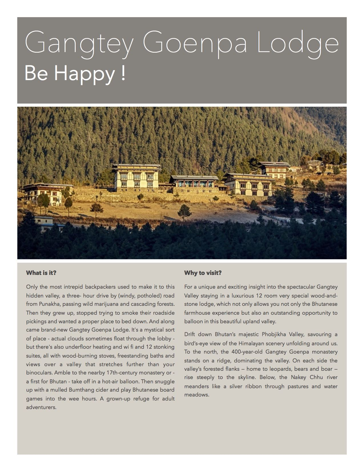 GGP - Your stay in Bhutan
