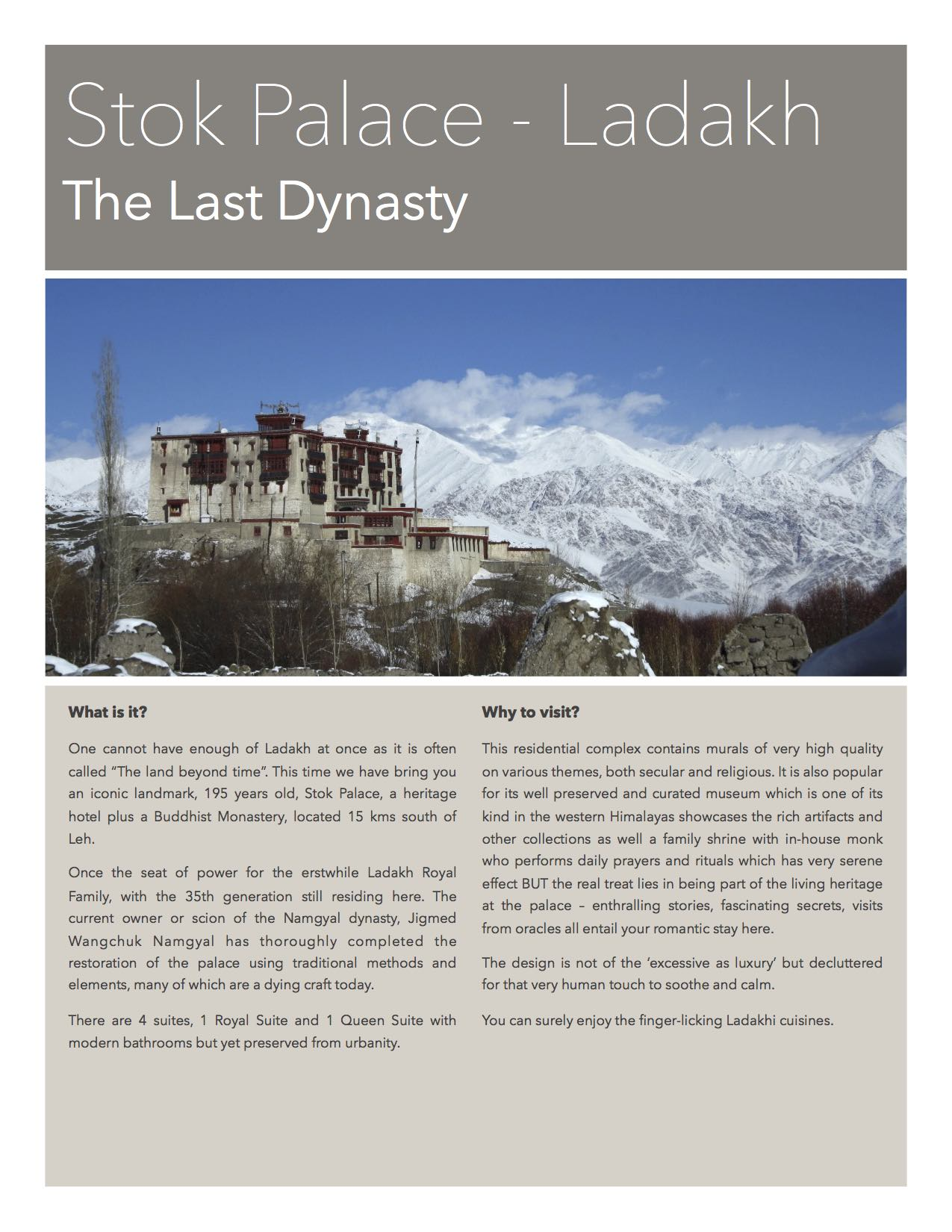 Stok Palace - Your stay in Ladakh
