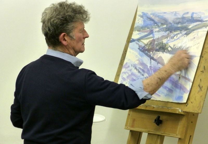 A watercolour painting demonstration at Derby Sketching Club