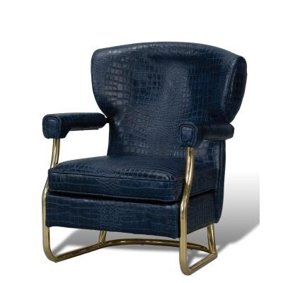 The Santa Monica Arm Chair in Chateau Blue Croc Leather and Copper Frame by Sarreid Ltd.
