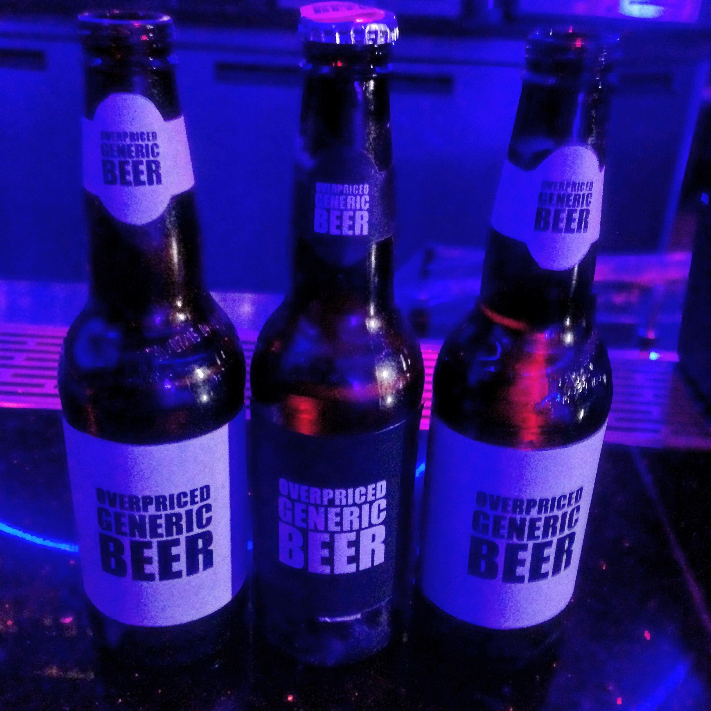 Custom parody labels for the beer bottles to avoid copyright infringement