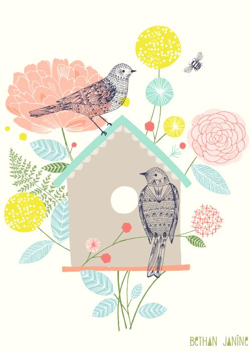 Bird house & Peony