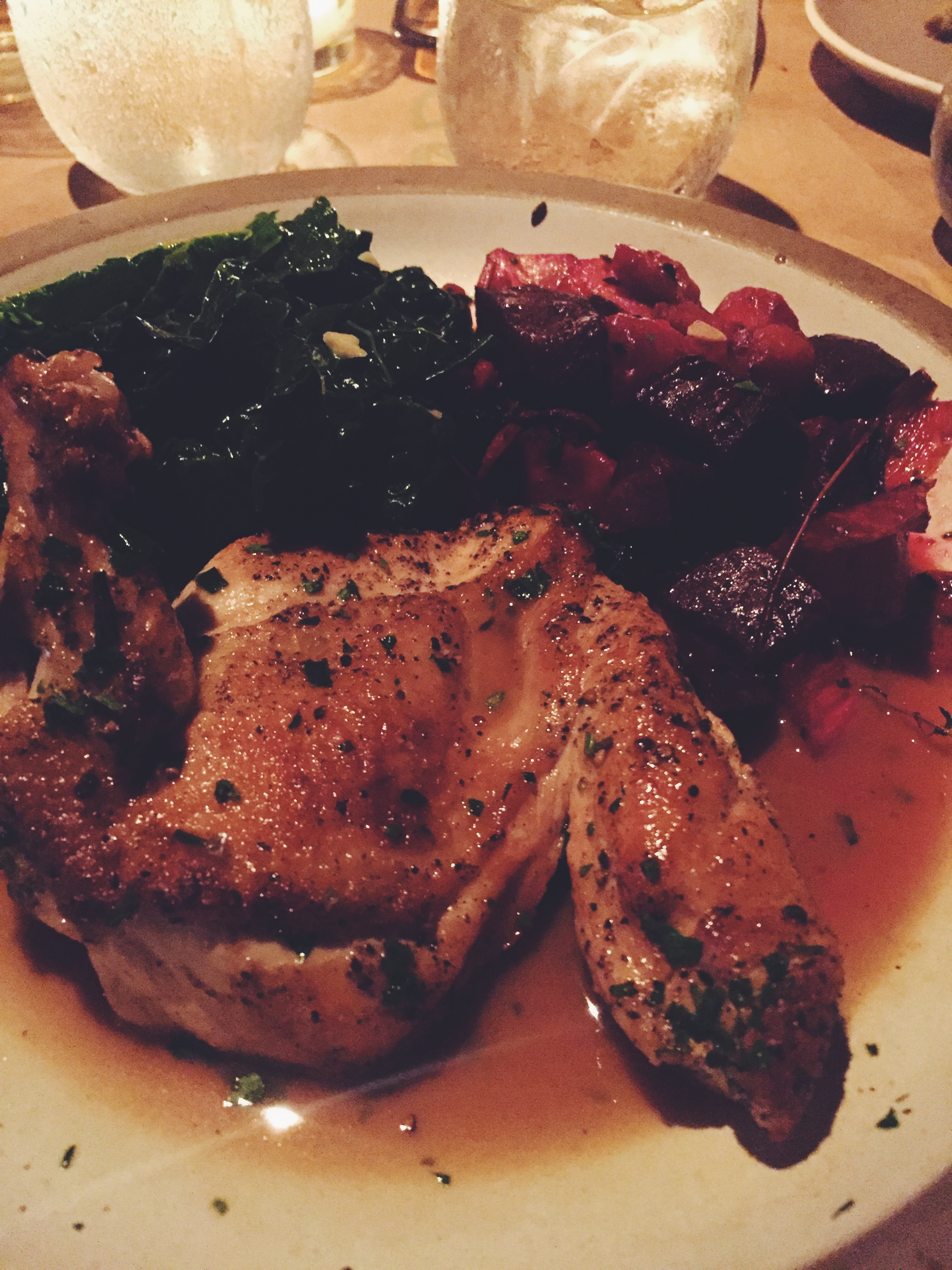 """The """"pollo al legno"""" (sautéed then cedar wood grilled organic chicken breast finished in a light balsamic vinegar sauce) w/ root veggies and sauteed kale. AMAZING - Pace Restaurant"""