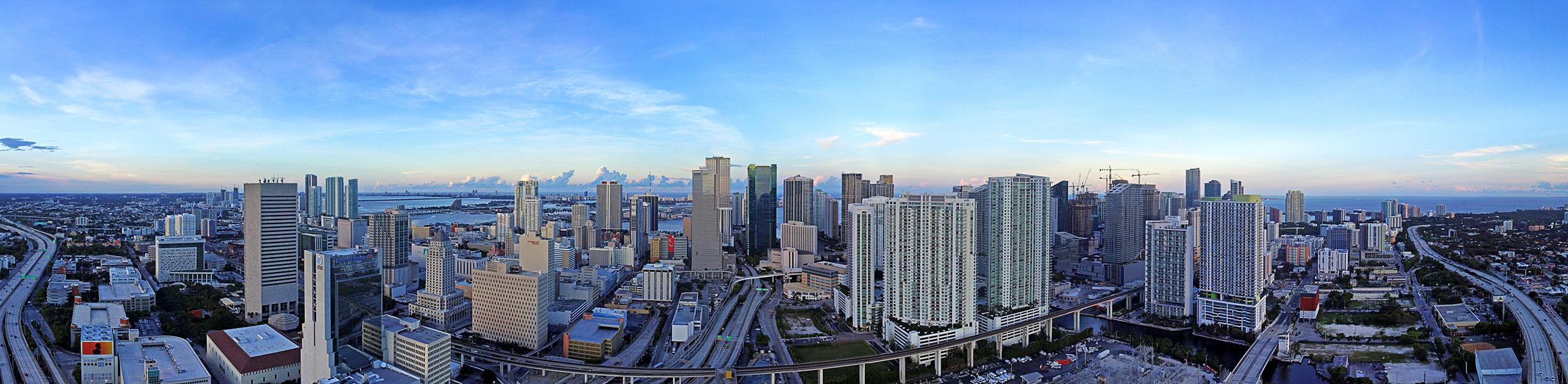 Downtown Miami Panoramic Image via Azeez Bakare Studios