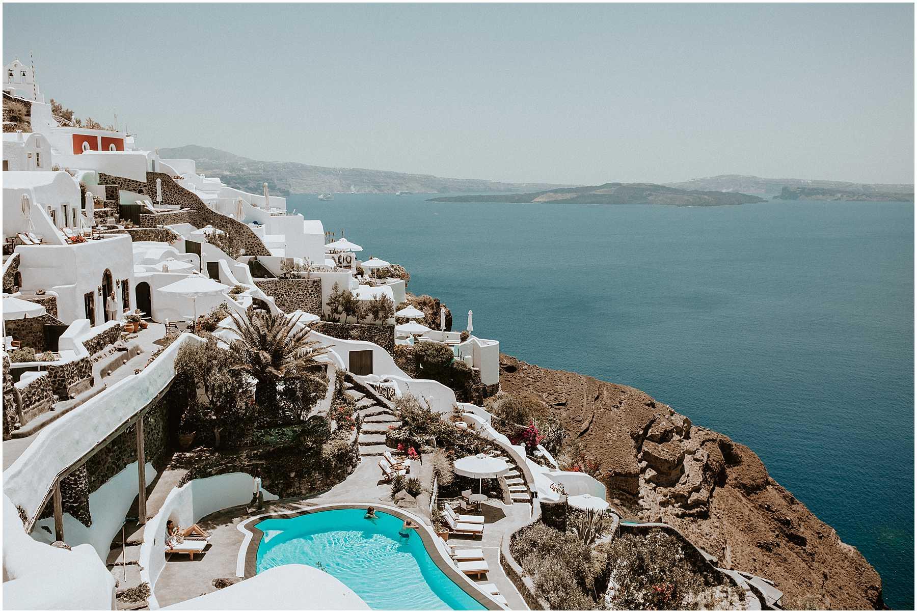 Cliffside views of Oia in Santorini Greece