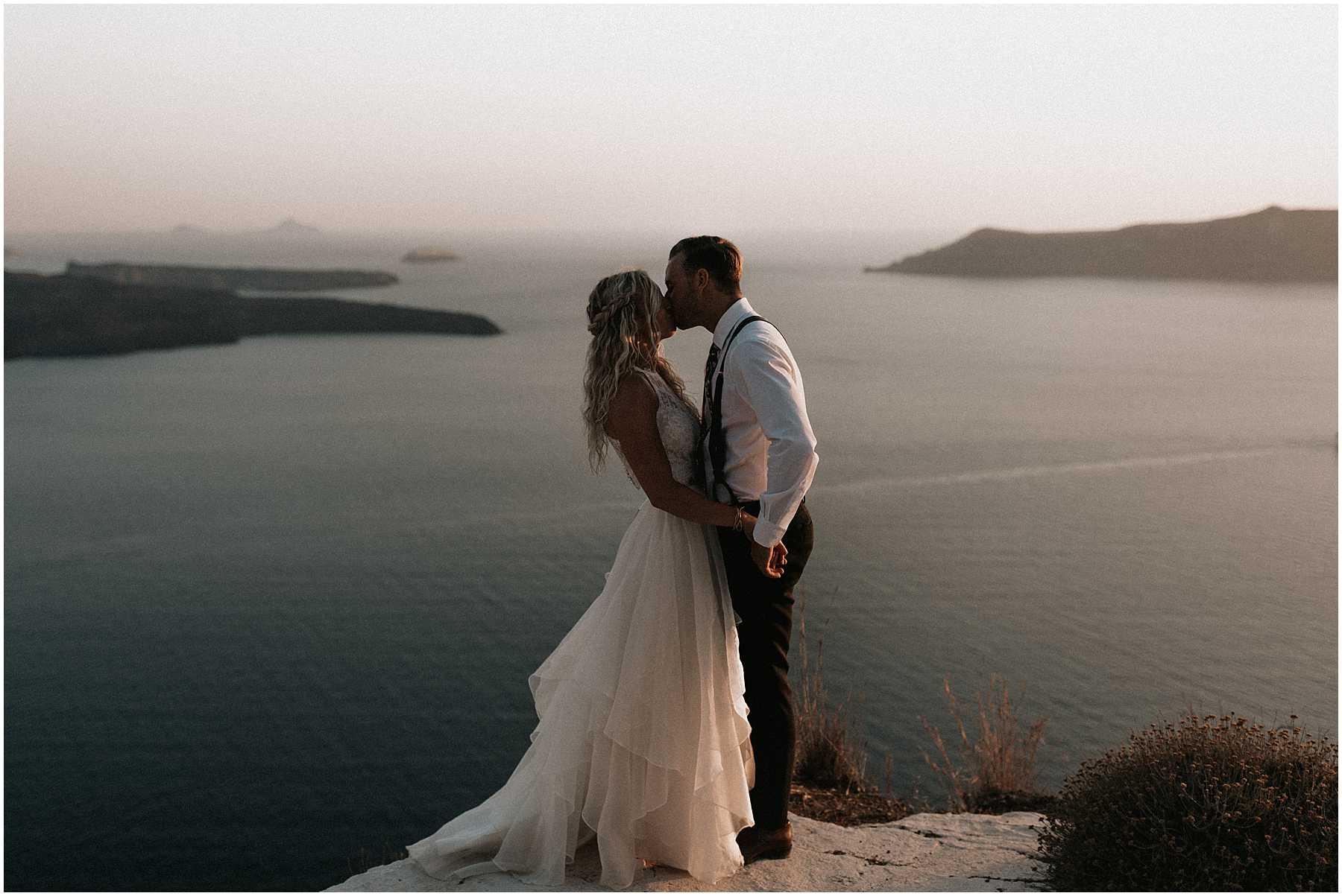 A bride and groom elope in Santorini