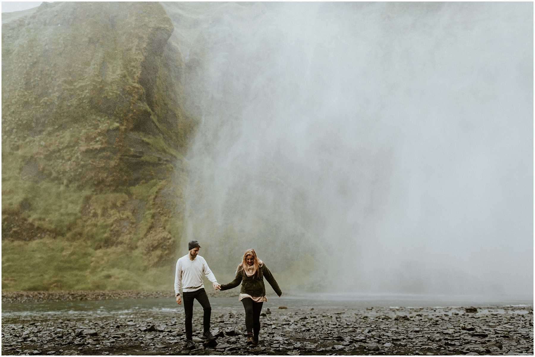 A couple on their anniversary in Iceland