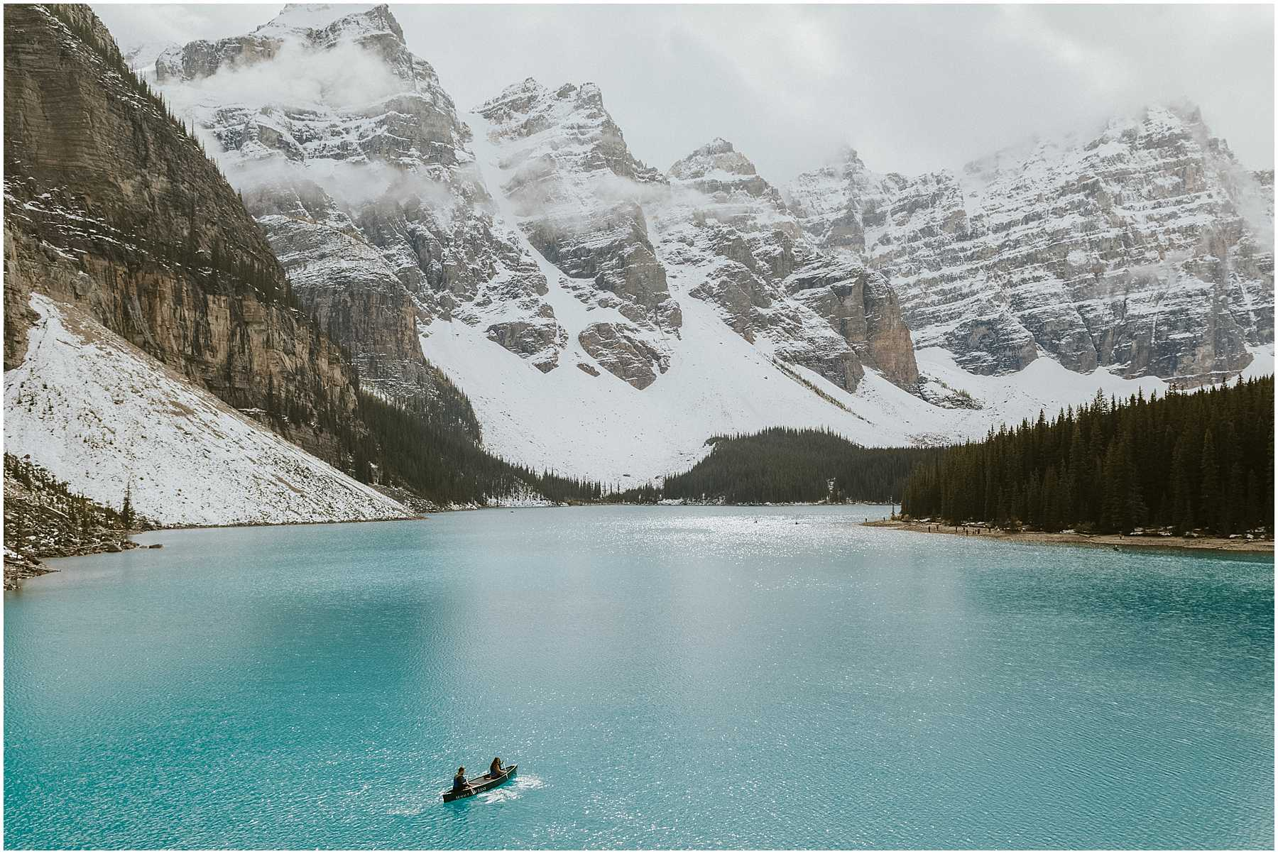 A fun, laid-back, adventurous couples shoot at Lake Moraine in Banff National Park