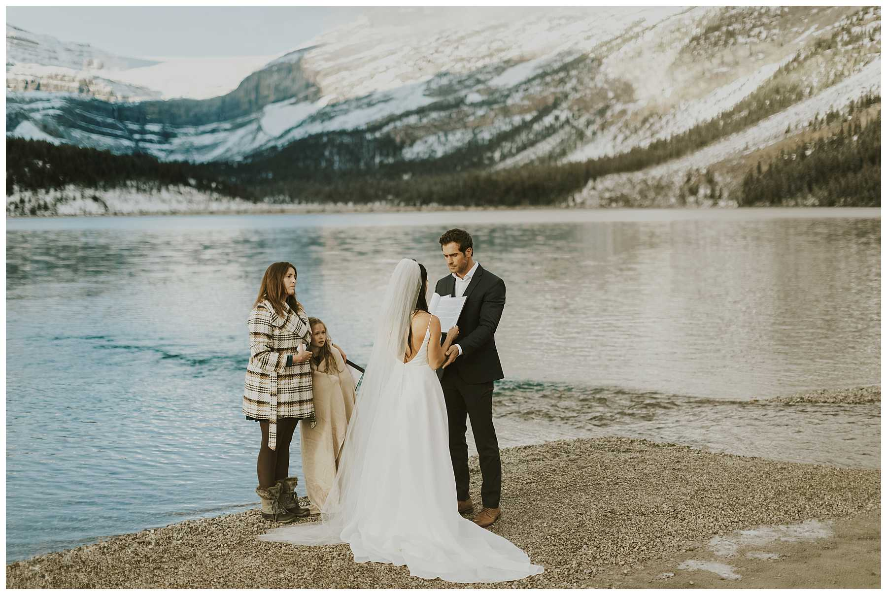 Sunrise Winter Elopement in Banff National Park