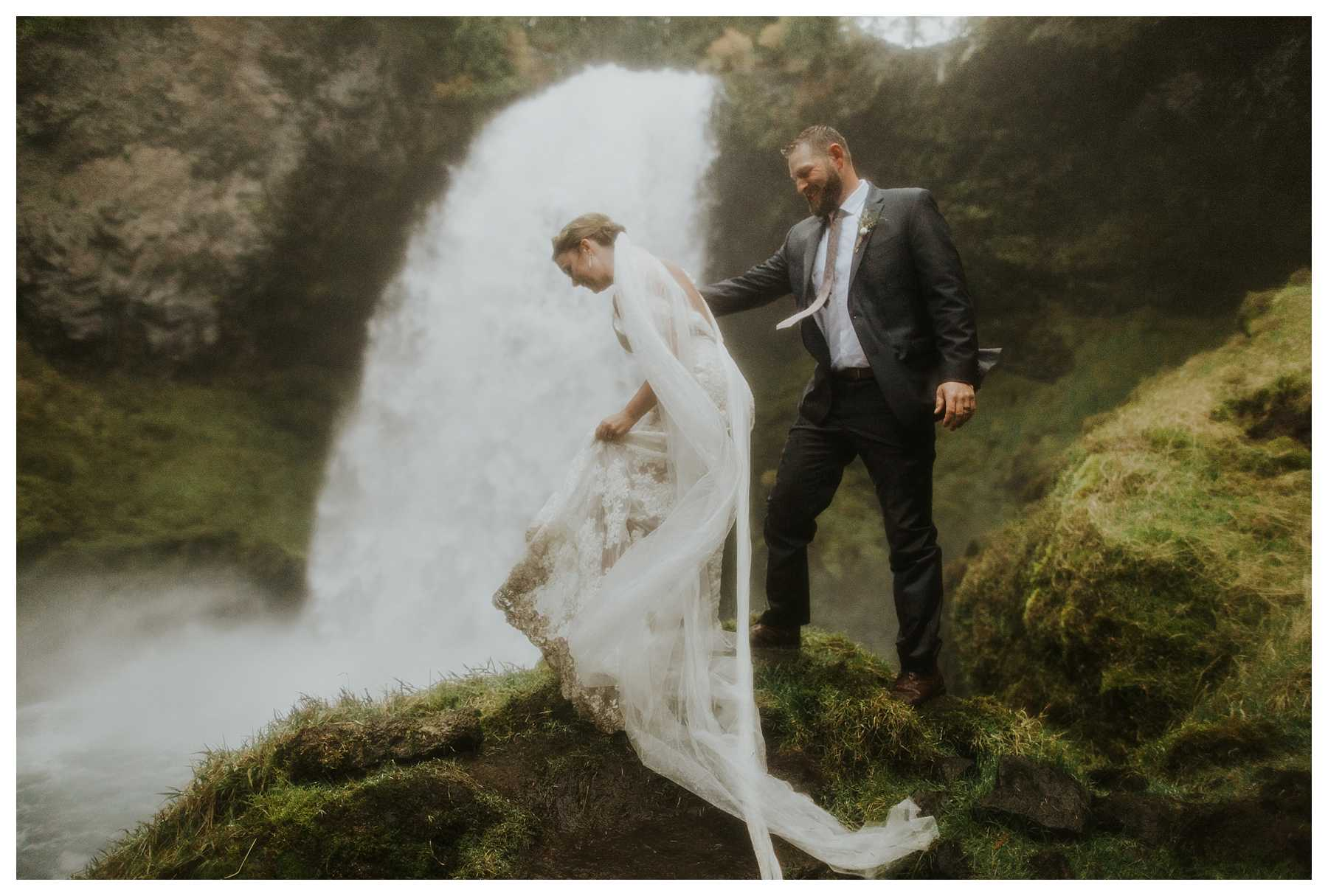 Adventurous Waterfall Elopement in Oregon