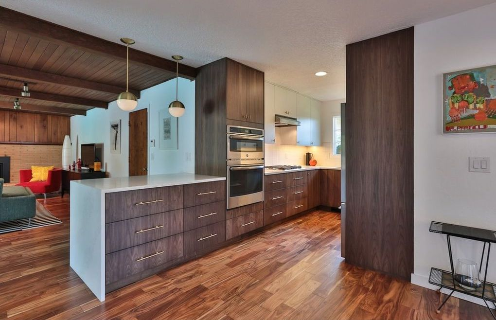 Kokeena's The Modernist in Black Walnut (walnut finished with a black glaze) takes this mid-century remodel to the next level, adding sharper contrast to the walnut grain and dulling some of the yellows in natural walnut.