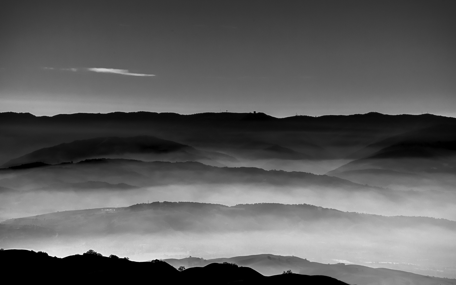Black and White HDR Silicon Valley from Mt. Hamilton