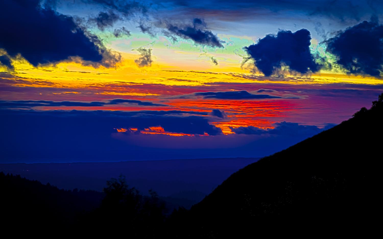 Sunset,  South End of Summit Road in Santa Cruz Mountains-- Santa Clara -- Santa Cruz County Line