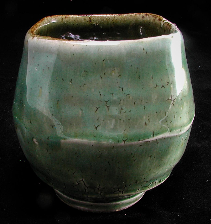 Stoneware Yunomi, crackle slip, green ash glaze