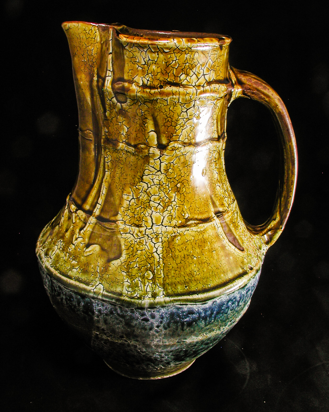 Pitcher, crackle slip and ash glazes