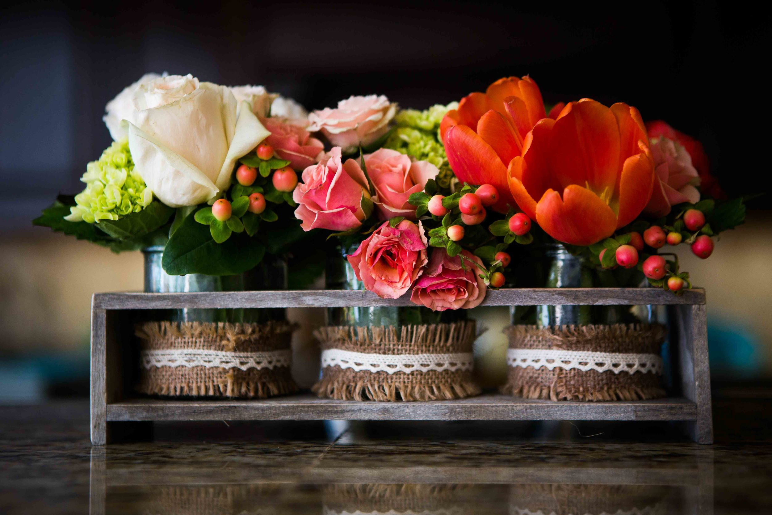 Mom also created these beautiful little flower displays.