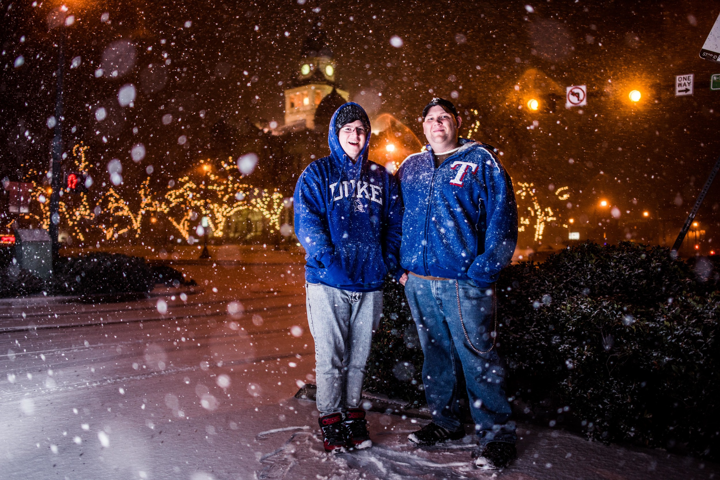 """I met these two Dentonites on their way to Loophole. I scribbled their names down on a scratch sheet of paper, which has been lost to the blizzard. They shall be affectionally known as """"Duke"""" and """"Texas."""""""