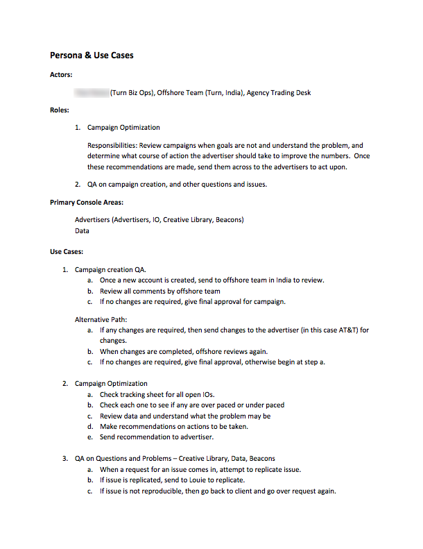 Turn Use case document example