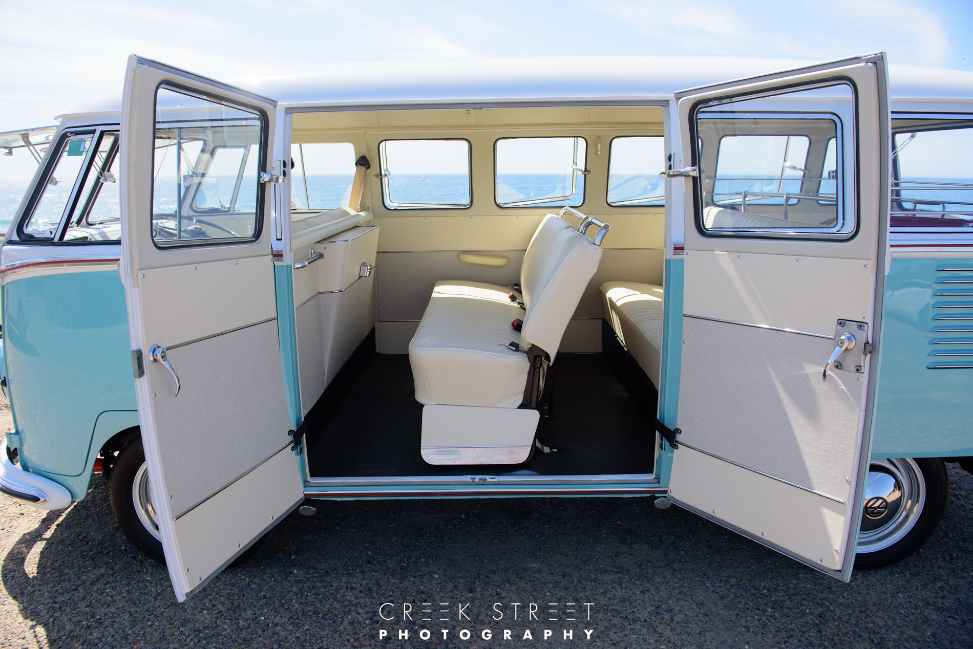 Evie spent months in Melbourne with Volkswagen interior specialist, Bus n Bugs for her interior fitout. Her restoration is true to her vintage & Volkswagen heritage. No expense has been spared as she has been restored to the very highest standard. Even her seats are the original Volkswagen spring and coconut fibre. -