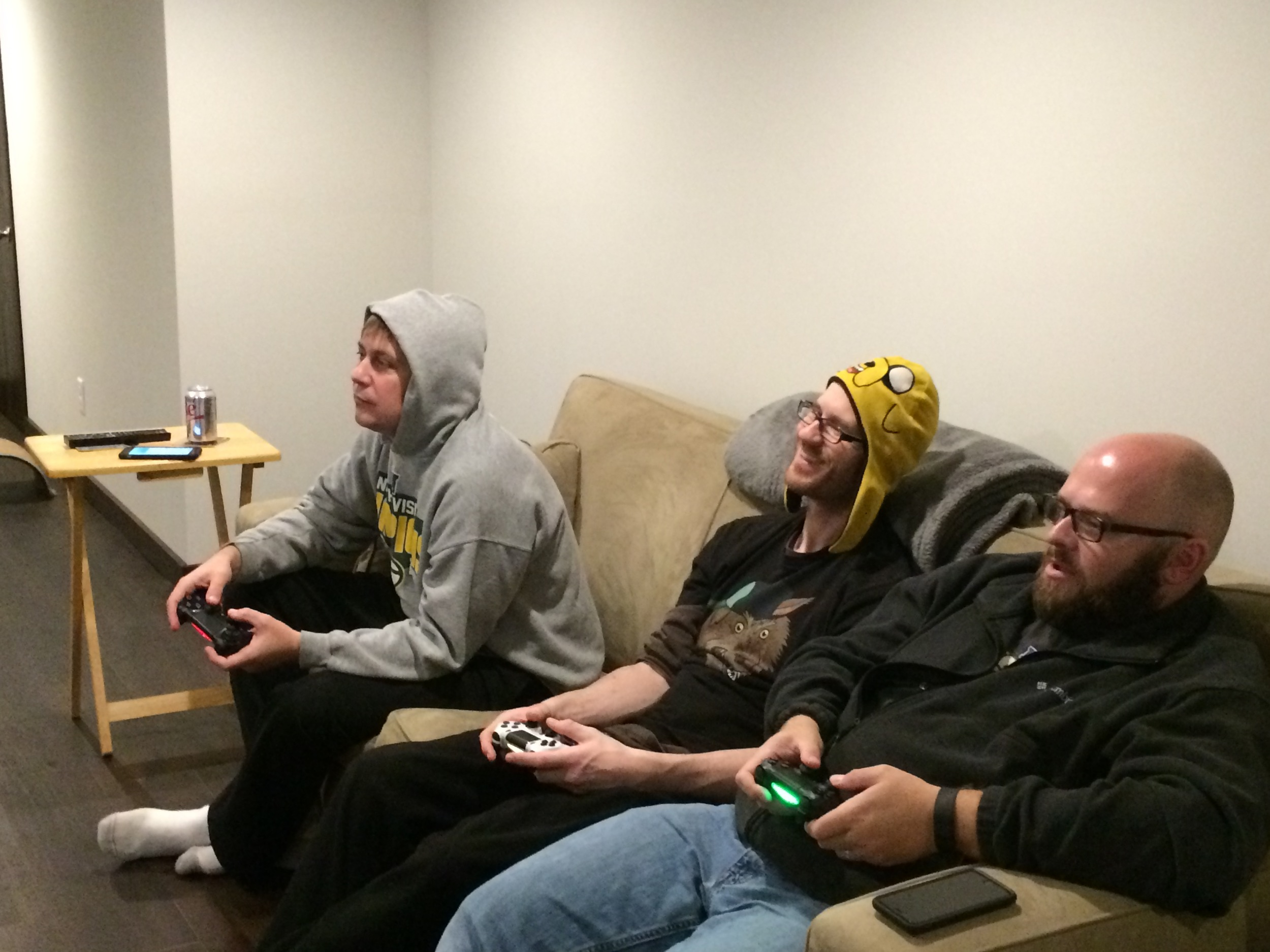 Cozy Couch; Joel, Sergio & Art playing multiplayer games during Extra Life 2015